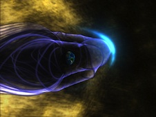 Artist's concept of Earth's magnetic field with bow shock