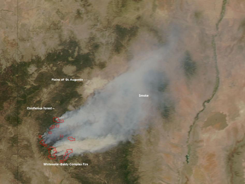 satellite image of Whitewater-Baldy Complex fire