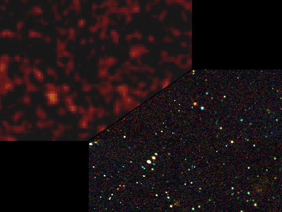 The image on the left, taken by the European Space Agency's INTEGRAL satellite, shows high-energy X-rays from galaxies beyond our own. The image on the right shows a simulated view of what NuSTAR will see at comparable wavelengths.