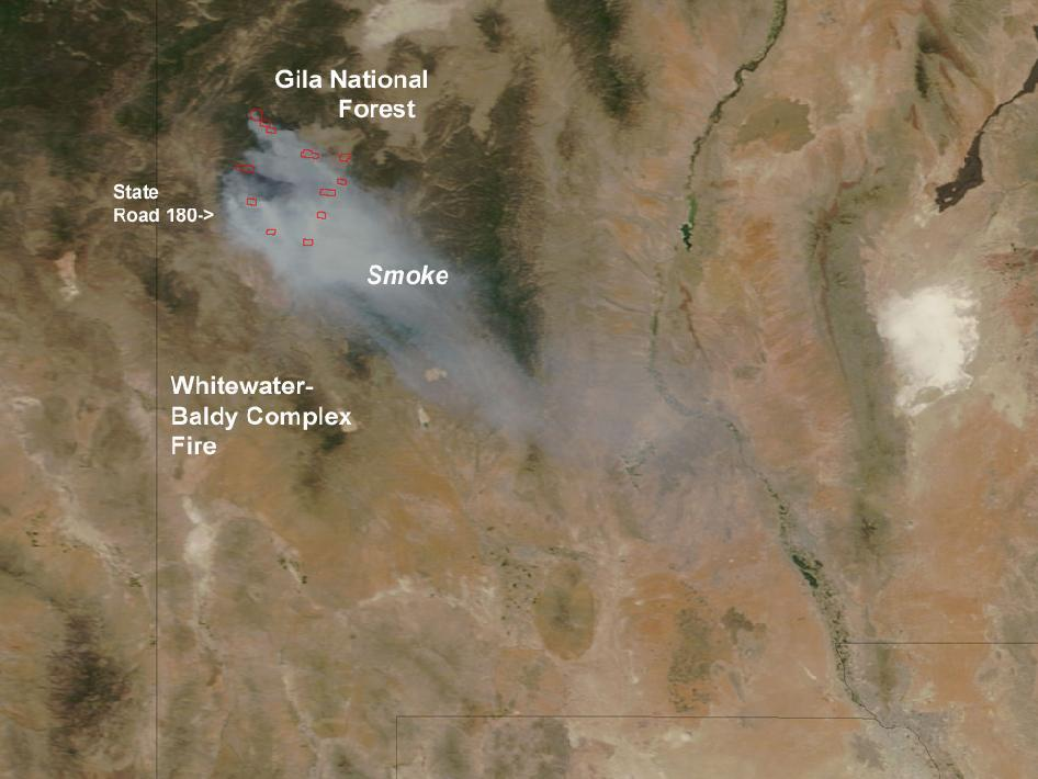 smoke plumes over Gila National Forest, with labels