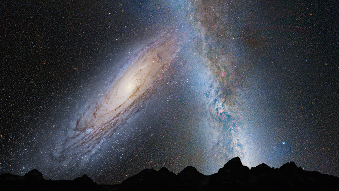 illustration of how Andromeda and the Milky Way might look in Earth's night sky in 3.75 billion years