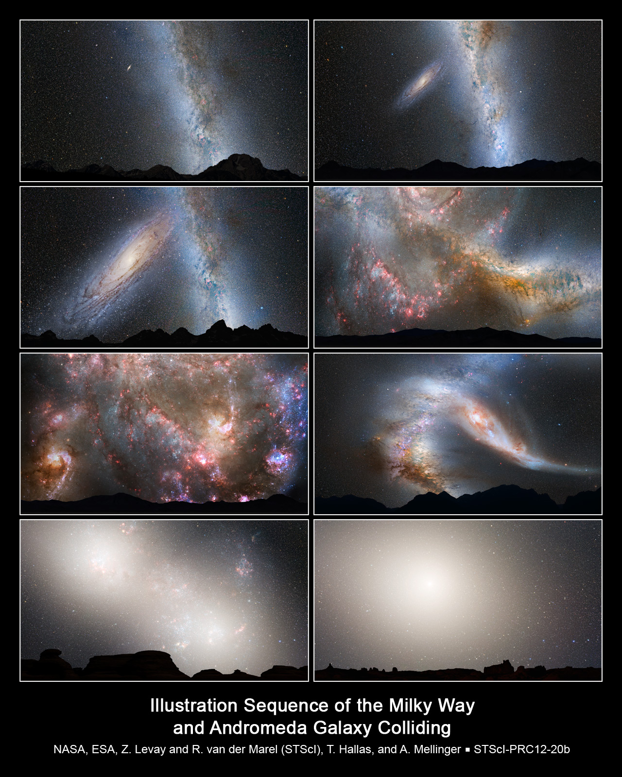 Series of photo illustrations showing merger between milky way and andromeda