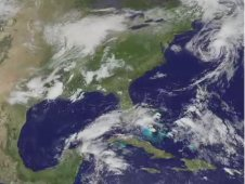 NOAA GOES-13 animation of Beryl over North Carolina and its progression into the Atlantic Ocean.