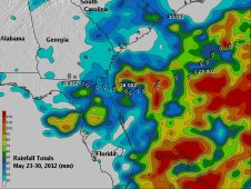 This is a color-coded image of TRMM rainfall totals from Beryl.