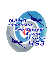 NASA Hurricane And Severe Storm Sentinel HS3 logo - drone over swirling storm graphic