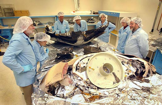 Large sections of the Genesis Sample Return Capsule that survived the hard impact landing are now in the Lockheed Martin's facilities in Denver, Colo.