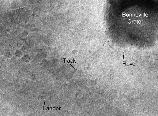 Global Surveyor sees tracks of Mars rover.