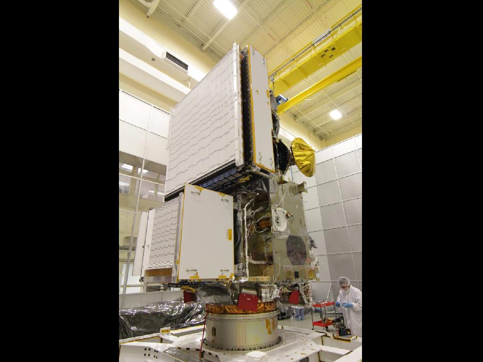 The DPR integrated onto the GPM Core Observatory in a cleanroom at NASA Goddard Space Flight Center