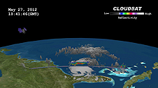 This CloudSat cross-section of Tropical Storm Beryl shows the path CloudSat took over the storm.