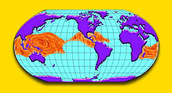 A world map with purple continents and orange places in the blue waters near the equator