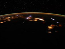 This image shows the peak of the Lyrid meteor shower, as photographed by crew member Don Pettit from aboard the International Space Station on April 22, 2012. (NASA)