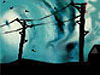 Drawing of a couple of telephone poles with a dark stormy sky in the background