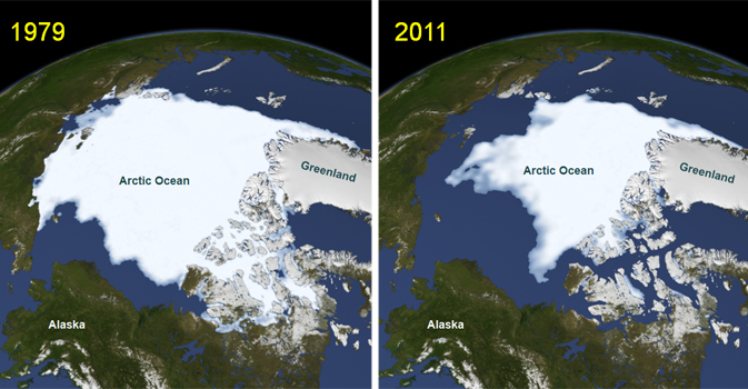 images depicting Arctic sea ice in 1979 (left) and 2011