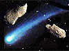 Asteroids floating in space with a comet moving between them