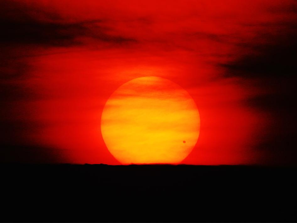 Venus Transit at sunrise on June 8, 2004