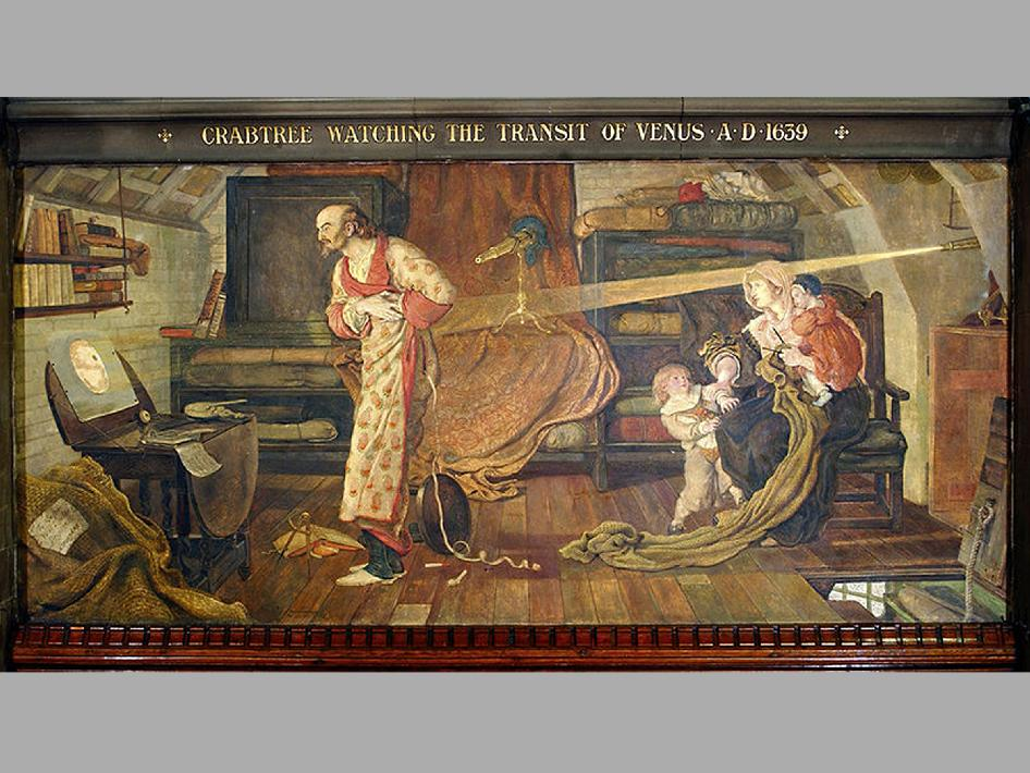 mural showing the first recorded transit of Venus from 1639