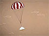 Drawing of a capsule parachuting through the Mars atmosphere