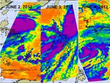 AIRS captured infrared images from Mawar on June 4, 5, and 6
