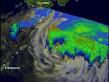 TRMM data showed Mawar was producing a very large area of rainfall southeast of Japan on June 5, 2012.