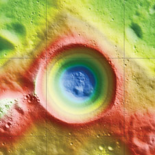 Elevation map of Shackleton crater