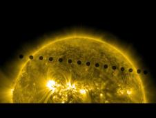 Merged images of Venus transit from SDO showing Venus' path across the sun.