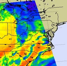 map of Northeast U.S. derived from infrared satellite data
