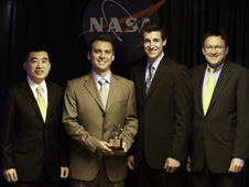 From the 2011 Associate Administrator Awards presented April 24, 2012: (l to r) ARMD Associate Administrator Jaiwon Shin, High Potentials group winners Eric Paciano and Jonathan Lichtwardt, ARMD Deputy Associate Administrator Tom Irvine. Image credit: NASA/Chris Osbourn