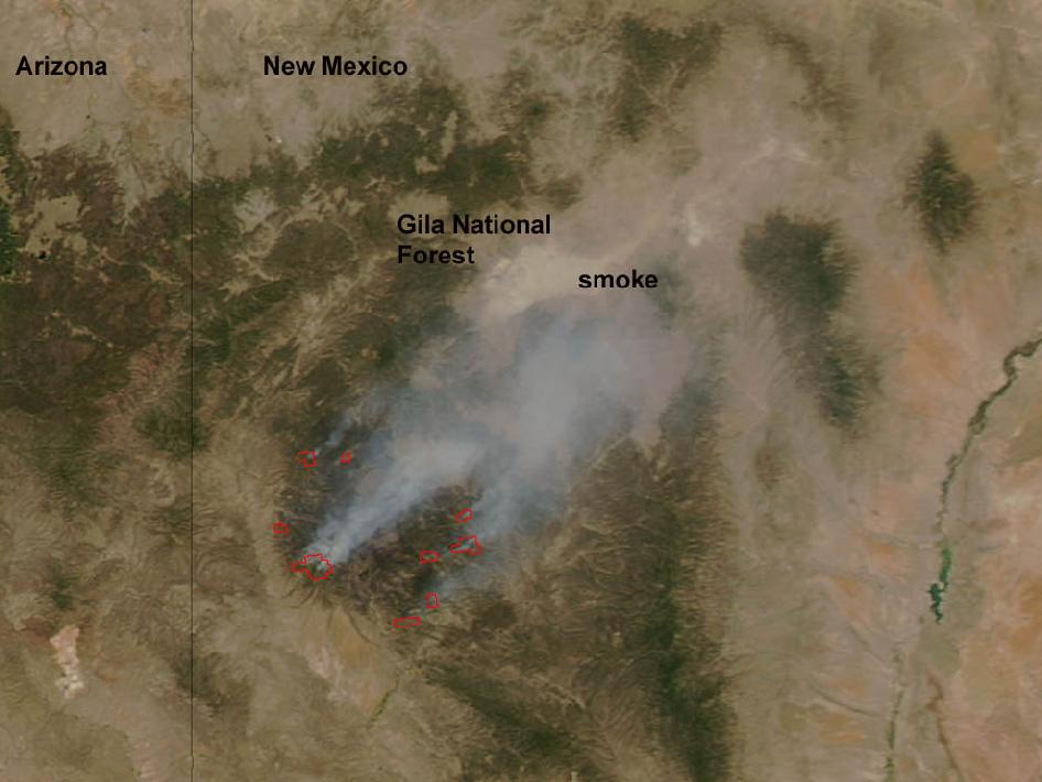 satellite image of fire in New Mexico