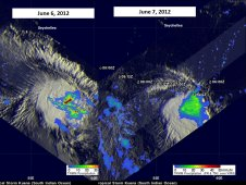 TRMM satellite show how Kuena's intensity waned between June 6 (left) and June 7 (right).