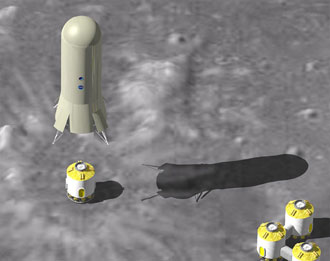 Artist's concept of lunar exploration