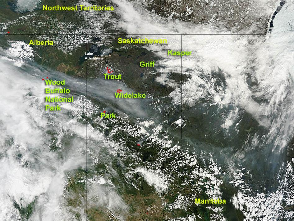 satellite image of fire in Canada