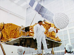 ERB satellite in the KSC clean room