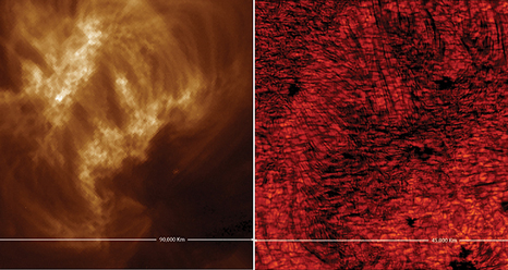 Left: An image of a magnetic loop complex as captured on July 22, 2011 by SDO. Right: This is the same area as captured by the NST.
