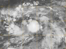MODIS captured this infrared image of Tropical Depression 05W soon after it formed.
