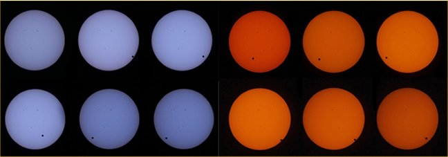 These series of images were taken by the Expedition 31 crew onboard the International Space Station during the Transit of Venus event. The images in blue used a 1200mm lens with a neutral color solar filter on the Nikon D2x, while the orange images used an 800mm lens with a 762nm narrow band pass filter on the Nikon D2x. This transit was the first that was captured from space, as previous crew members did not have solar filters onboard to capture imagery during the last transit in 2004. (NASA)