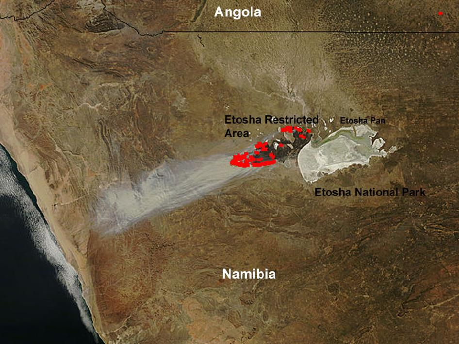 smoke plume inside the African coast of namibia