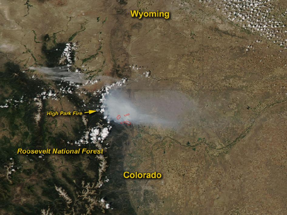 satellite image of fire in Colorado