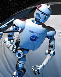 The human-like Robonaut robot works outside the space shuttle