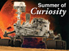 Artist rendition of NASA's Curiosity Rover with Mars in the background