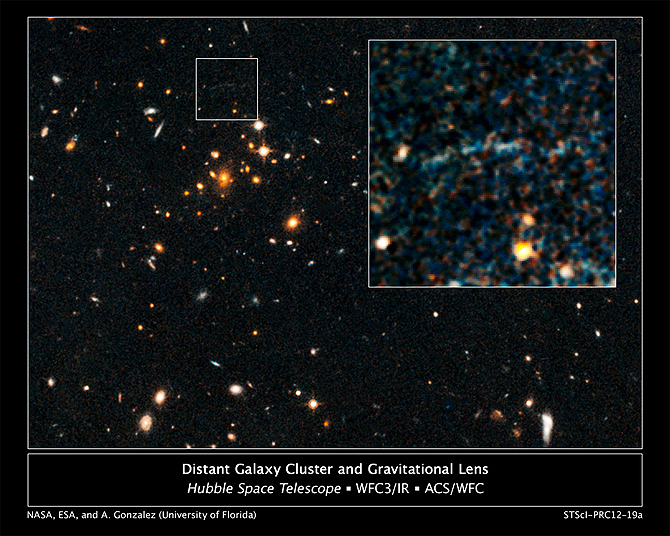 Hubble image showing an arc of blue light behind an extremely massive cluster of galaxies residing 10 billion light-years away.