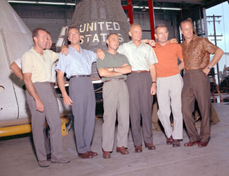 Gordon Cooper with other Mercury astronauts