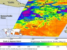 On June 14, at 0723 UTC, AIRS showed that Tropical Storm Carlotta's low-level circulation center had consolidated
