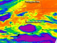 AIRS captured an infrared view of Typhoon Gucho's clouds and temperatures n June 13 at 1635 UTC.