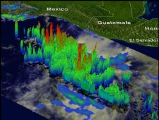 A TRMM 3-D analysis of Carlotta's vertical structure from June 13 showed several powerful storms taller  above 15km (~9.3 miles).