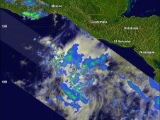 This image of Carlotta from NASA's TRMM satellite shows the intensity or rainfall within the storm on June 13, 2012.