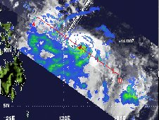 This image from NASA's TRMM satellite shows Typhoon Guchol's rainfall intensity on June 15, 2012.