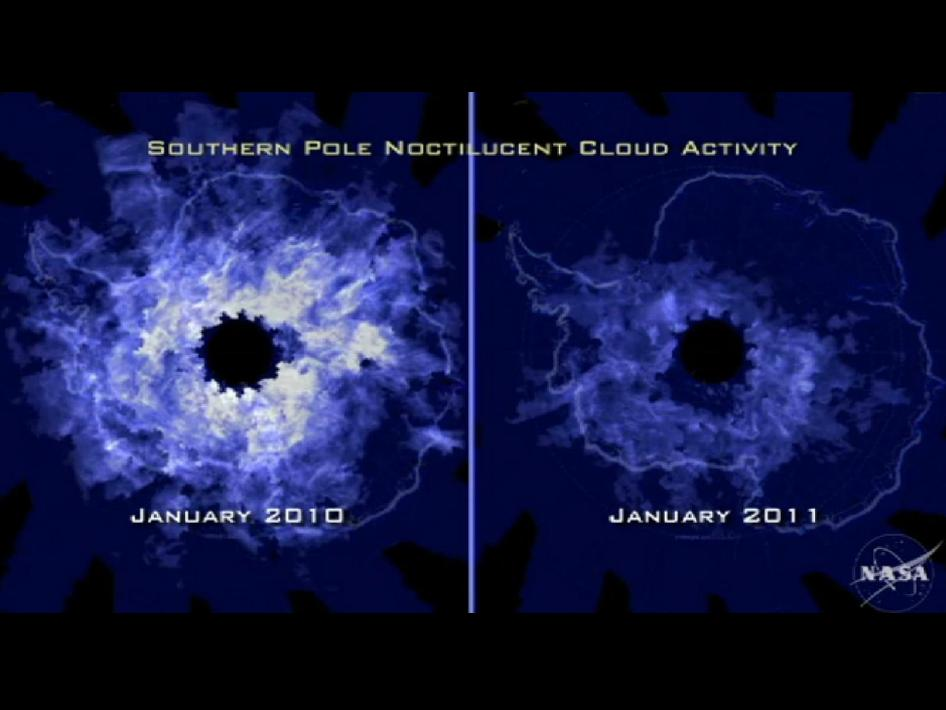 Comparison of NLCs at Earth's South pole for 2010 and 2011.