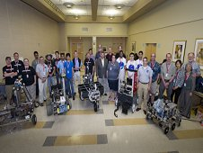 NASA and WPI Sample Return Robot Centennial Challenge teams, NASA management, and challenge organizers pose for a group photograph.