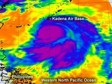 This AIRS infrared image shows the northern quadrant of Typhoon Guchol brushing Kadena Air Base on June 18.