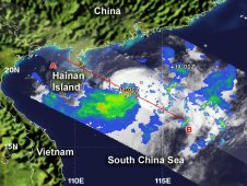 NASA's TRMM satellite captured a look at rainfall occurring in newborn Tropical Storm Talim in the South China Sea